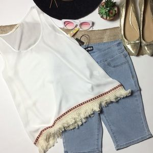 White with pink neon trim sheer tank top sz S